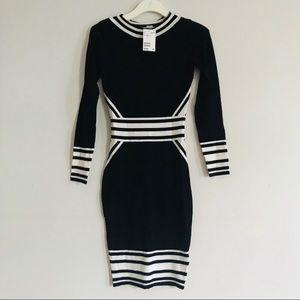 NWT H&M Black/White Midi Bodycon Dress